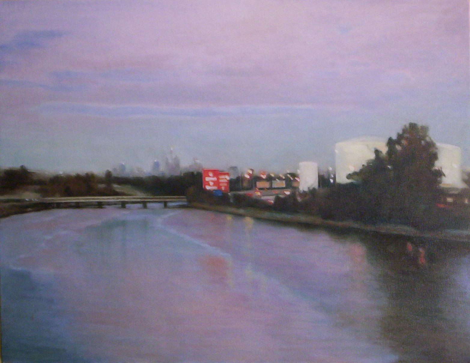 'Cooks River - Alexandria Canal' (2005) oil on cotton 76.5 x 101.5 cm
