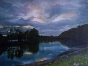 'Cooks River - Whitlam Park' (2005) oil on cotton 76.5 x 101.5 cm