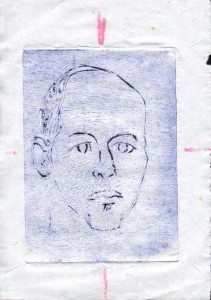Untitled self portrait (1994) Intaglio woodblock 12cm x 10cm approx
