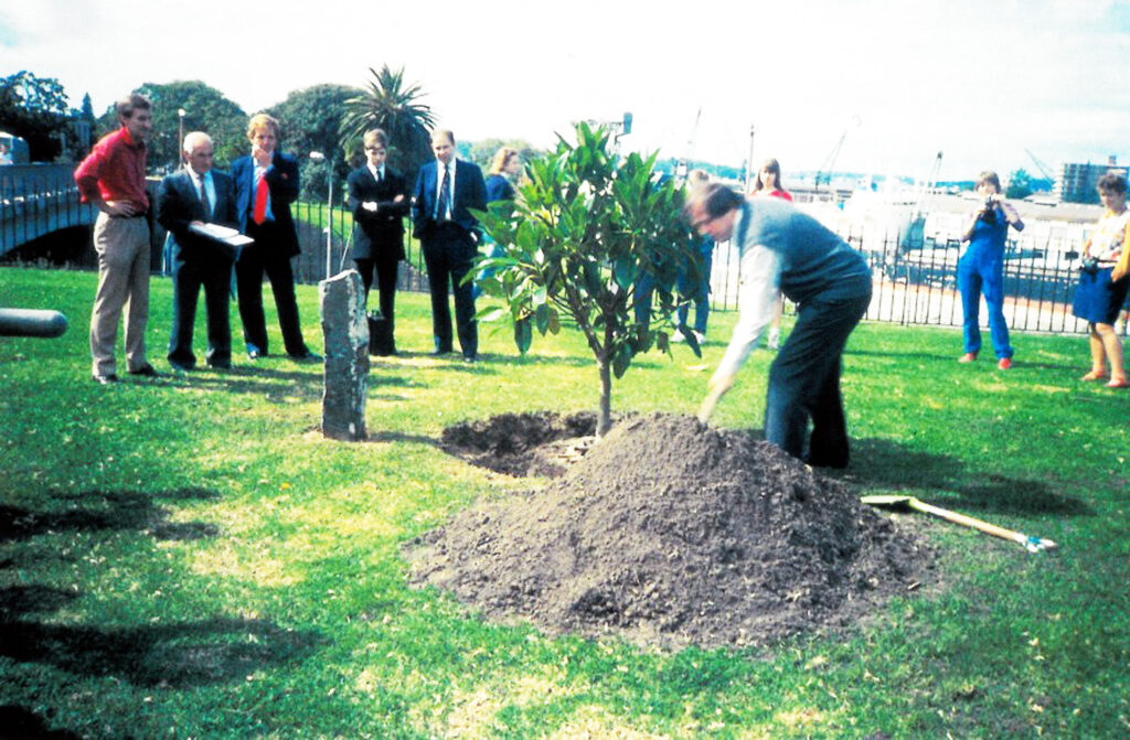 Rene Block planting one of Joseph Beuys trees at AGNSW 1984